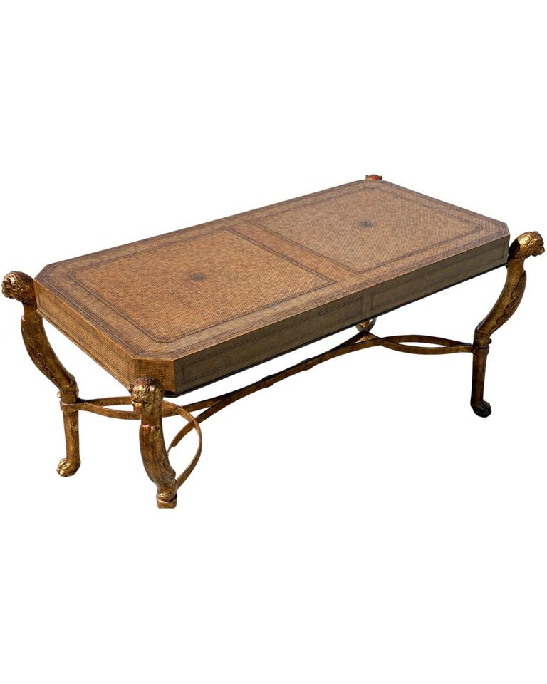 Neoclassical Desk by Maitland Smith in Leather and Gilt Wrought Iron, Lion Head For Sale 6