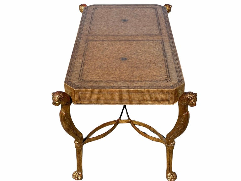 Neoclassical Desk by Maitland Smith in Leather and Gilt Wrought Iron, Lion Head For Sale 9