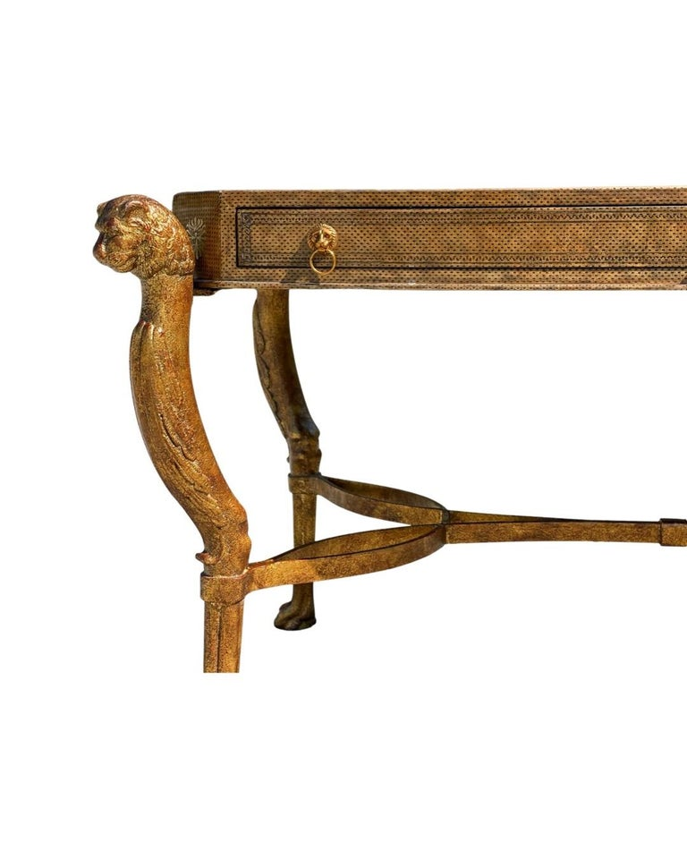 Mid-Century Modern Neoclassical Desk by Maitland Smith in Leather and Gilt Wrought Iron, Lion Head For Sale