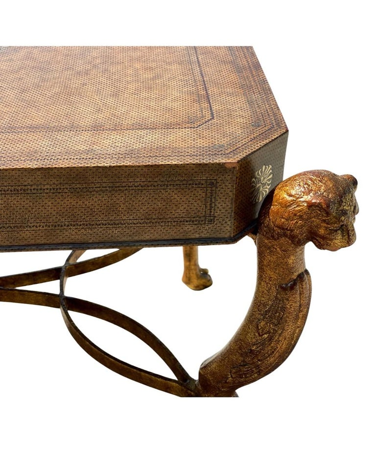 Philippine Neoclassical Desk by Maitland Smith in Leather and Gilt Wrought Iron, Lion Head For Sale