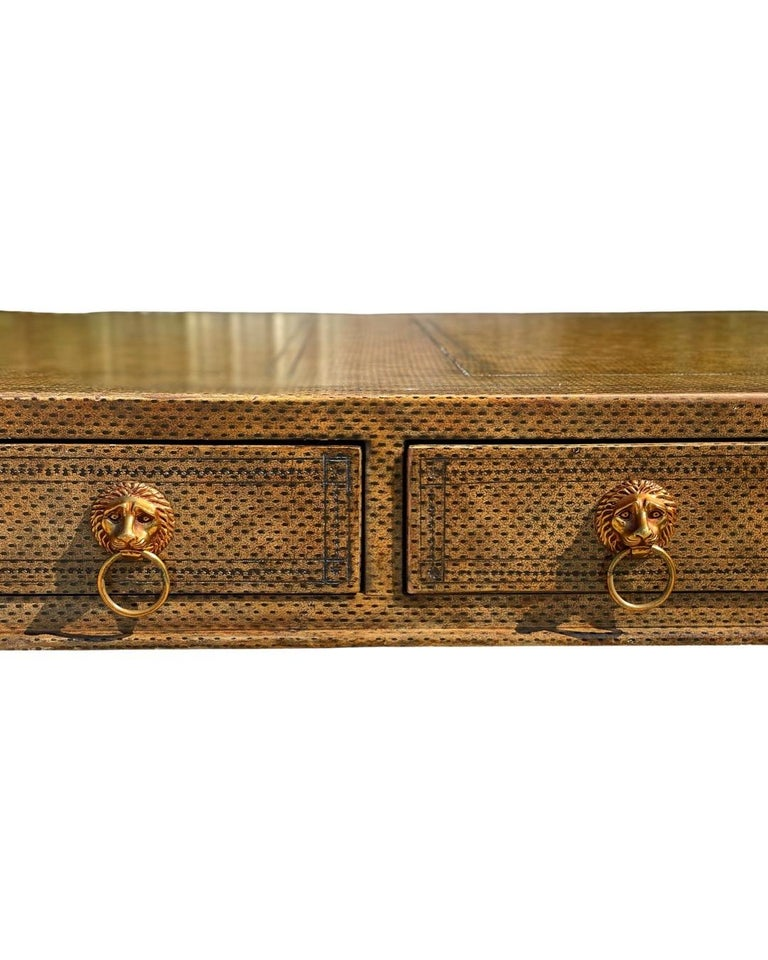 Neoclassical Desk by Maitland Smith in Leather and Gilt Wrought Iron, Lion Head In Good Condition For Sale In Framingham, MA