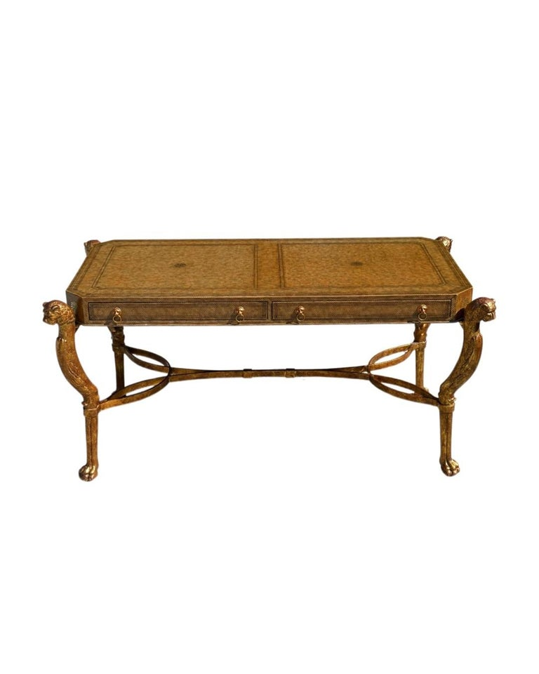 Late 20th Century Neoclassical Desk by Maitland Smith in Leather and Gilt Wrought Iron, Lion Head For Sale