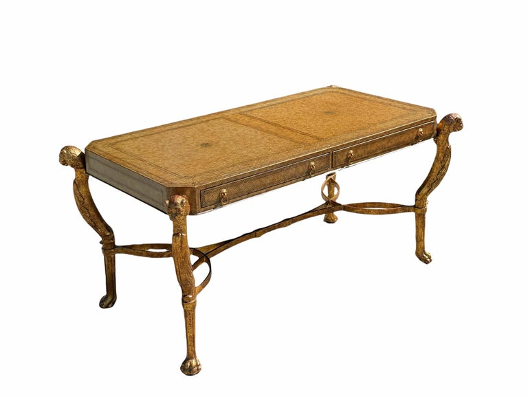 Metal Neoclassical Desk by Maitland Smith in Leather and Gilt Wrought Iron, Lion Head For Sale