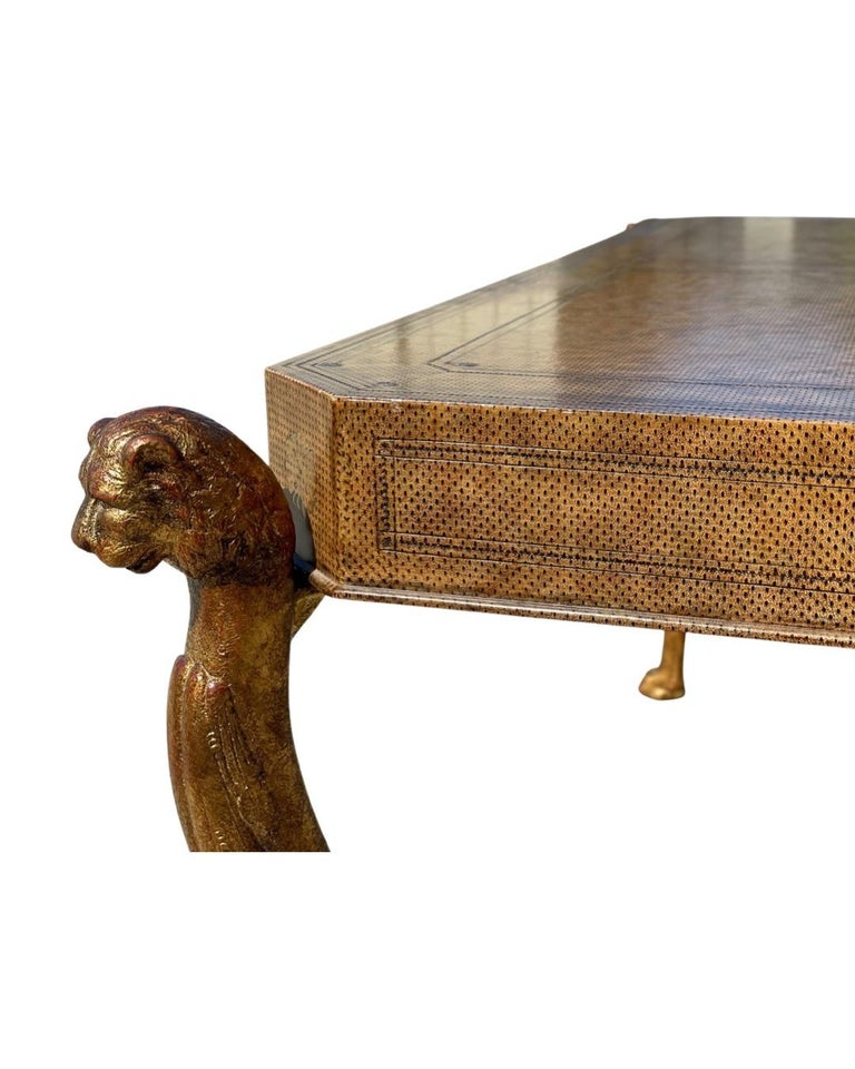 Neoclassical Desk by Maitland Smith in Leather and Gilt Wrought Iron, Lion Head For Sale 1