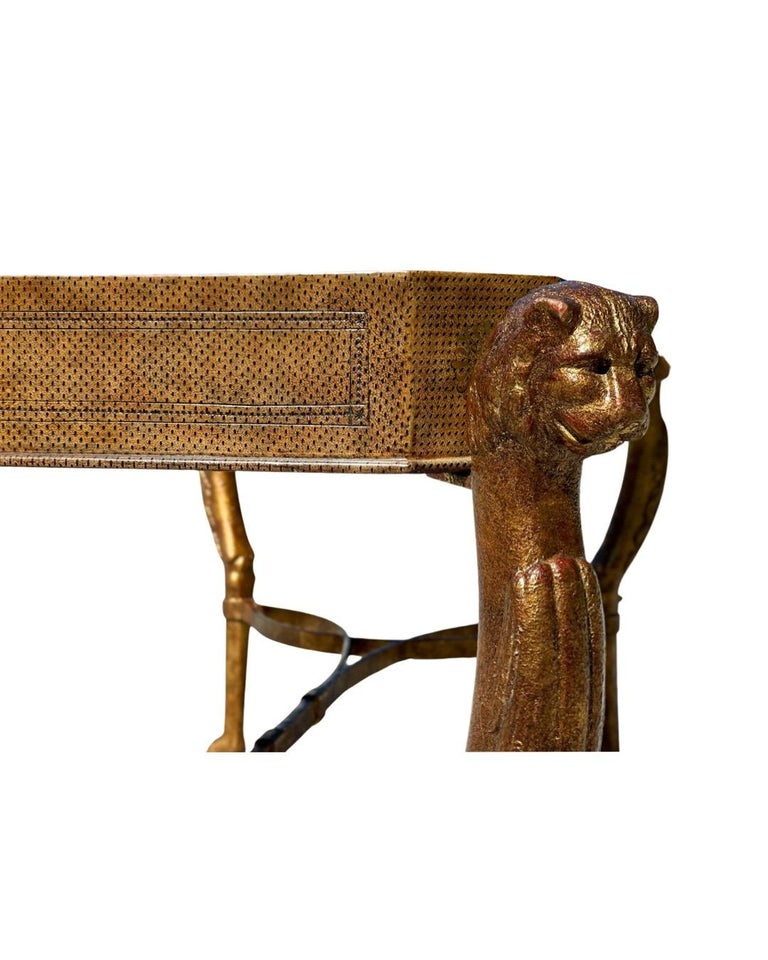 Neoclassical Desk by Maitland Smith in Leather and Gilt Wrought Iron, Lion Head For Sale 2