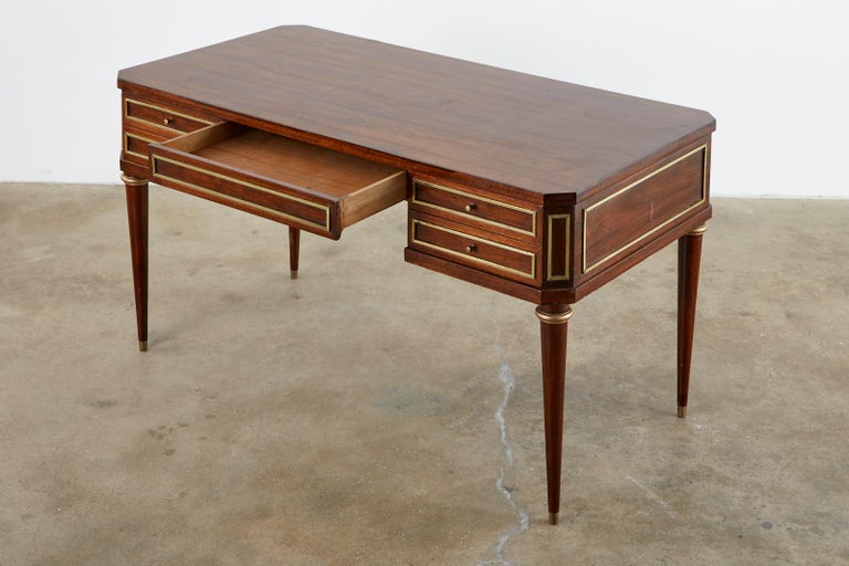 American Neoclassical Directoire Style Bronze Mounted Mahogany Desk