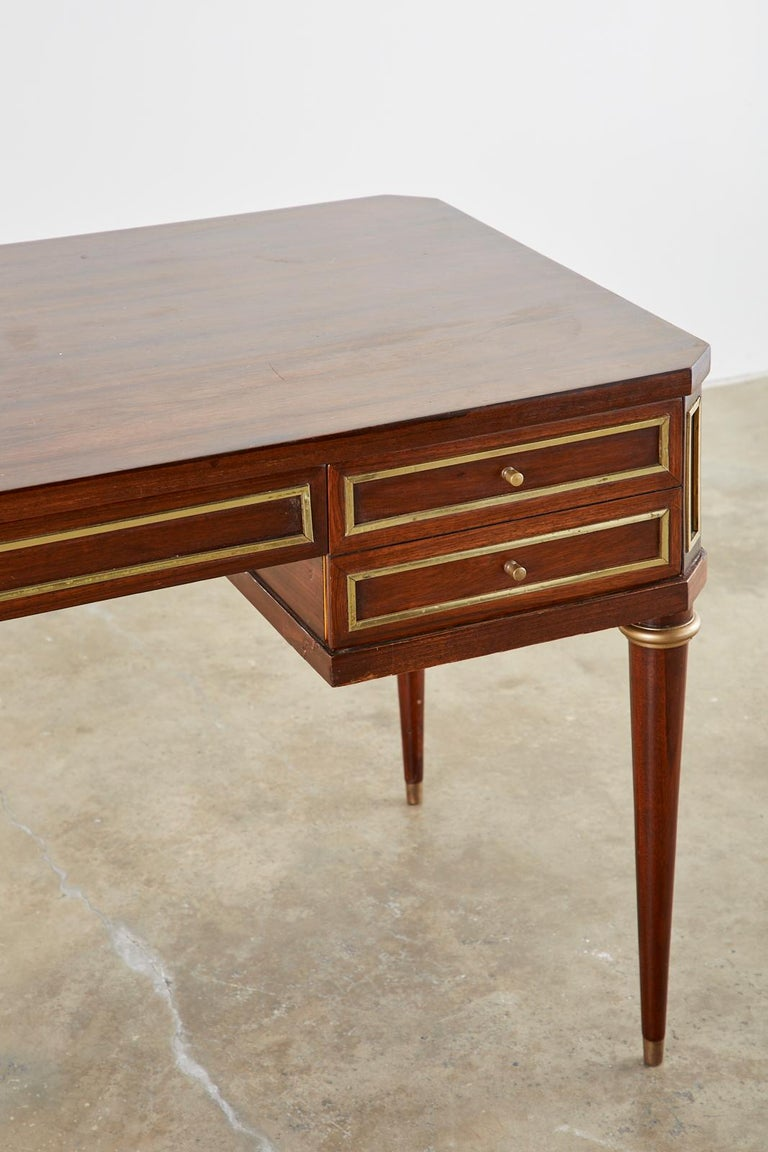 Brass Neoclassical Directoire Style Bronze Mounted Mahogany Desk