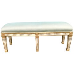 Neoclassical Directoire Styled Paint and Water Gilt Banquette or Bench