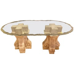 Neoclassical Double Column Glass Top Lalique Style Centre or Dining Table