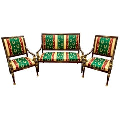 Neoclassical Egyptian Revival 3 Pc Parlor Set, Bench and Pair of Chairs Ormolu