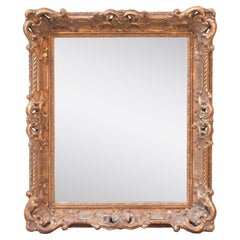 Neoclassical Empire Gold Hand Carved Wooden Mirror, Spain, 1970