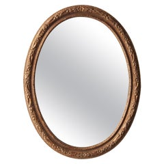 Neoclassical Empire Oval Gold Hand Carved Wooden Mirror, Spain, 1970