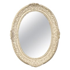 Neoclassical Empire Oval Silver Hand Carved Wooden Mirror, Spain, 1970