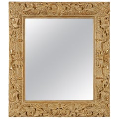 Neoclassical Empire Rectangular Gold Foil Hand Carved Wooden Mirror, 1970