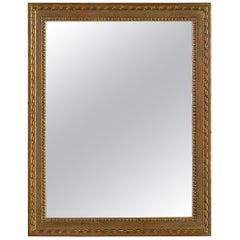 Neoclassical Empire Rectangular Gold Foil Handcarved Wooden Mirror, 1970