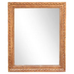 Neoclassical Empire Rectangular Gold Hand Carved Wooden Mirror, 1970