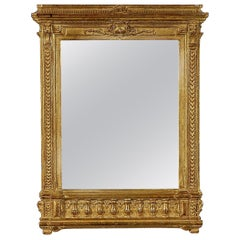Neoclassical Empire Rectangular Gold Hand Carved Wooden Mirror.