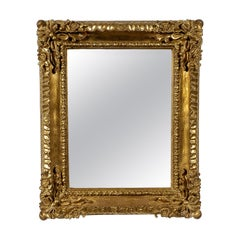 Neoclassical Empire Rectangular Gold Hand Carved Wooden Mirror, Spain, 1970