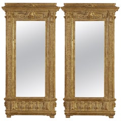 Neoclassical Empire Rectangular Gold Hand Carved Wooden Pair Mirror, Spain, 1970