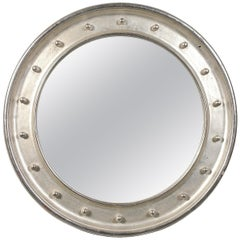 Neoclassical Empire Round Silver Hand Carved Wooden Mirror, 1970