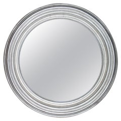 Neoclassical Empire Round Silver Hand Carved Wooden Mirror