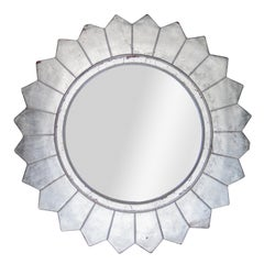Neoclassical Empire Round Silver Hand Carved Wooden Mirror, Spain, 1970