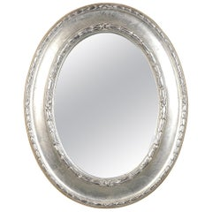 Neoclassical Empire Silver Hand Carved Wooden Mirror, Spain, 1970