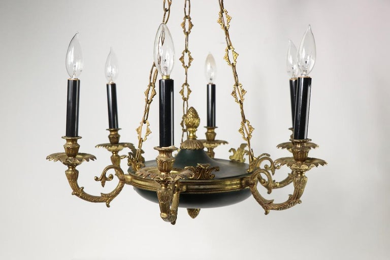 Empire Revival Neoclassical Empire Style 6-Light Chandelier Made in Spain For Sale