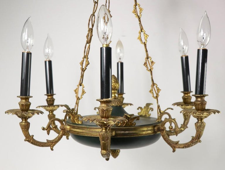 20th Century Neoclassical Empire Style 6-Light Chandelier Made in Spain For Sale