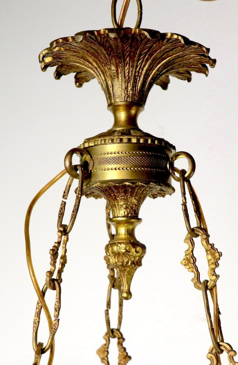 Brass Neoclassical Empire Style 6-Light Chandelier Made in Spain For Sale