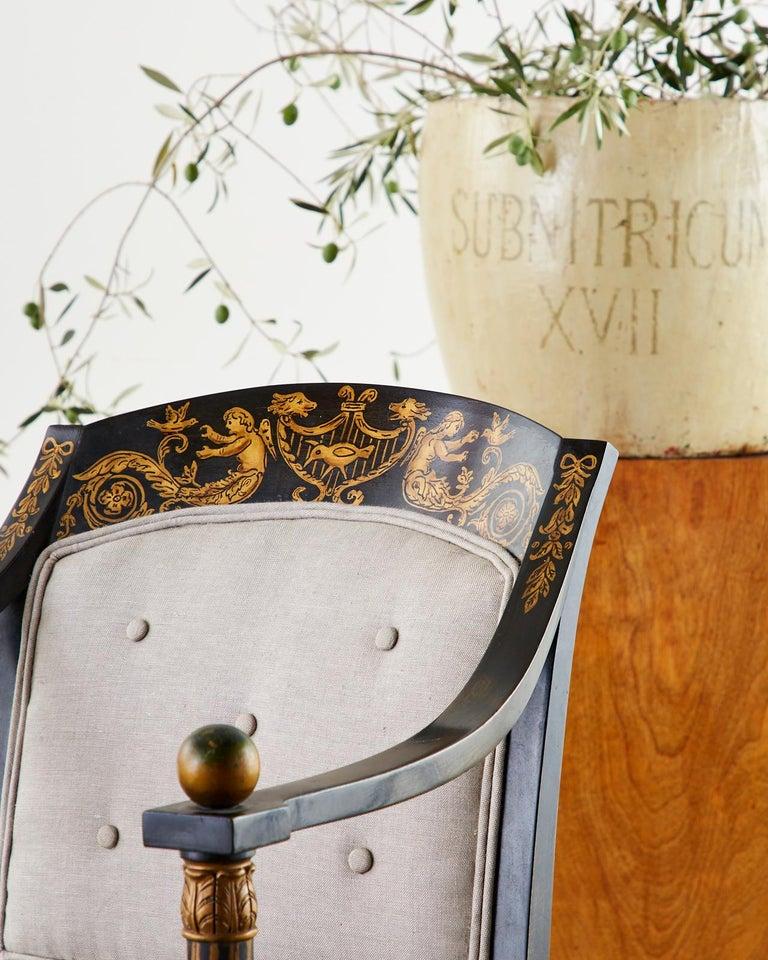 Neoclassical Empire Style Curule Leg Ebonized Armchair For Sale 5