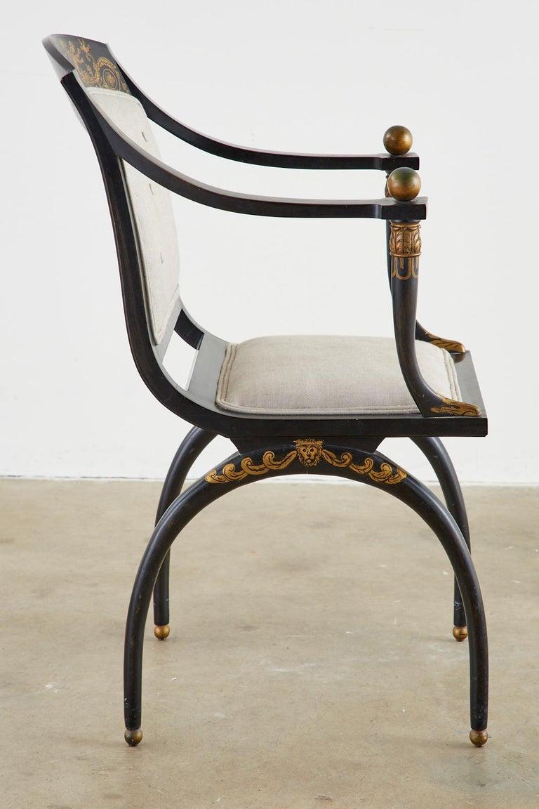 Neoclassical Empire Style Curule Leg Ebonized Armchair For Sale 6