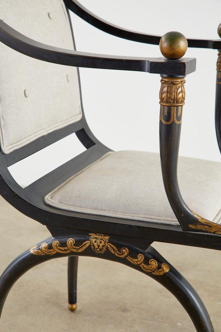 Neoclassical Empire Style Curule Leg Ebonized Armchair For Sale 7