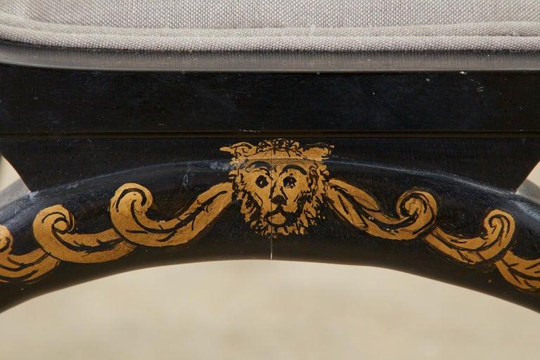 Neoclassical Empire Style Curule Leg Ebonized Armchair For Sale 8