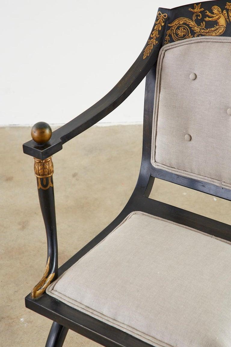 Neoclassical Empire Style Curule Leg Ebonized Armchair For Sale 9