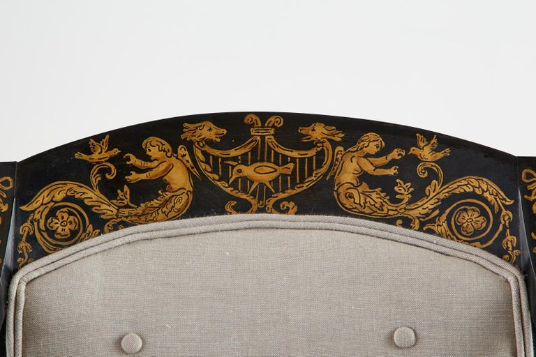Neoclassical Empire Style Curule Leg Ebonized Armchair For Sale 10