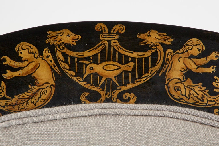 Neoclassical Empire Style Curule Leg Ebonized Armchair For Sale 11