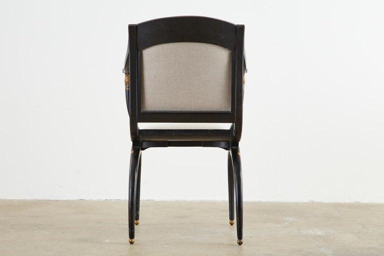 Neoclassical Empire Style Curule Leg Ebonized Armchair For Sale 15