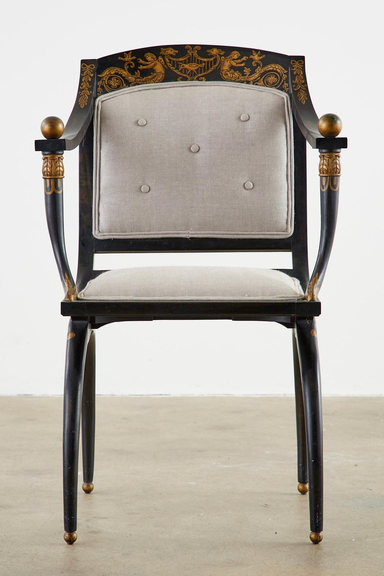 Neoclassical Empire Style Curule Leg Ebonized Armchair In Good Condition For Sale In Oakland, CA