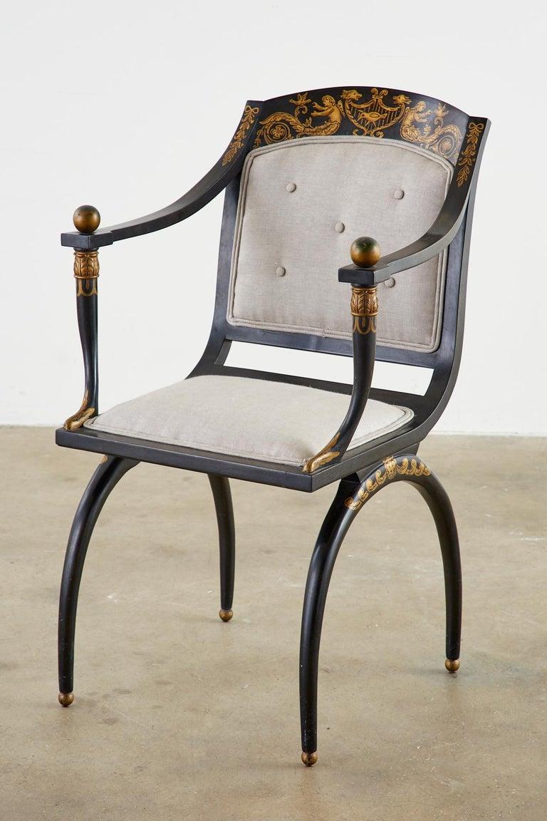 20th Century Neoclassical Empire Style Curule Leg Ebonized Armchair For Sale
