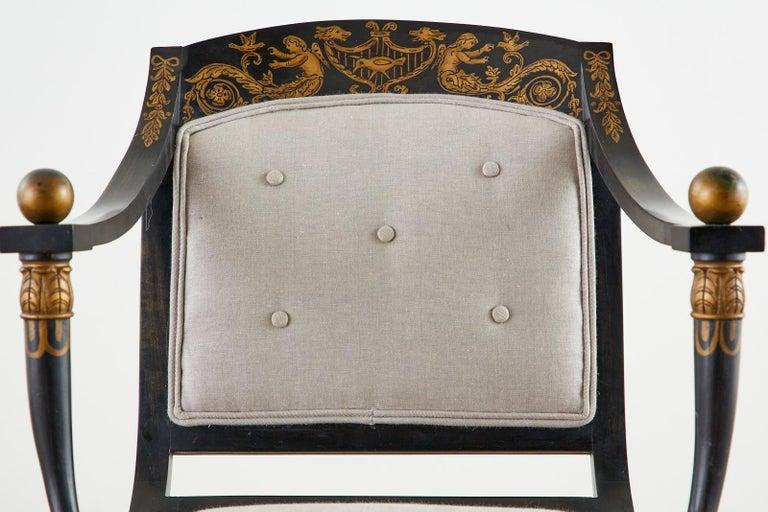 Neoclassical Empire Style Curule Leg Ebonized Armchair For Sale 1