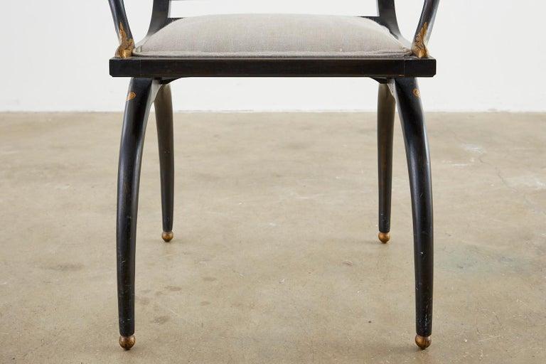 Neoclassical Empire Style Curule Leg Ebonized Armchair For Sale 2