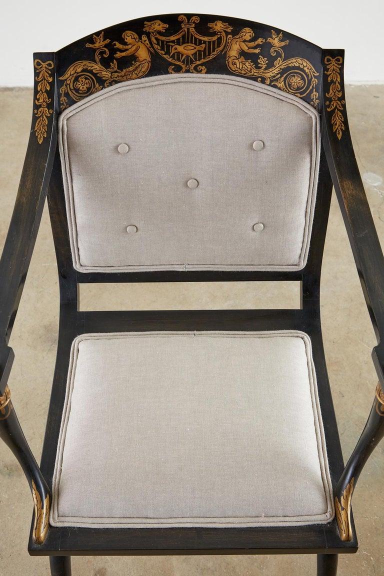 Neoclassical Empire Style Curule Leg Ebonized Armchair For Sale 3