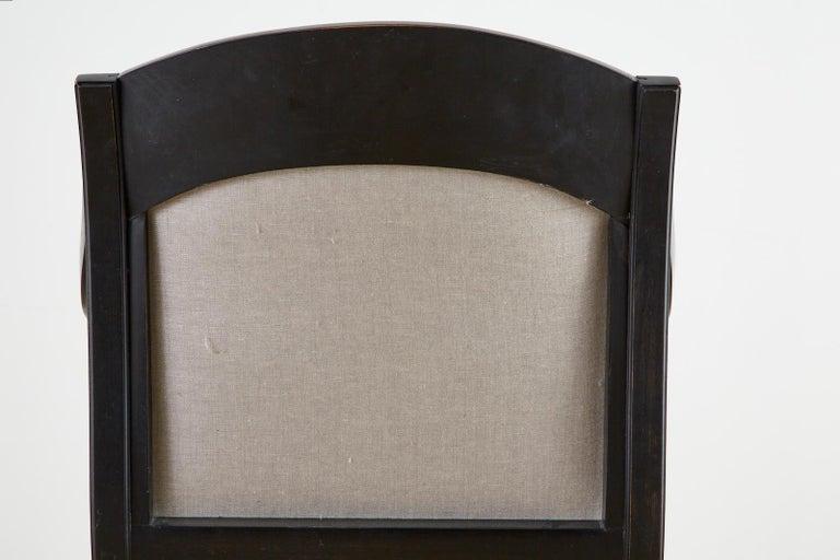 Neoclassical Empire Style Curule Leg Ebonized Armchair For Sale 4