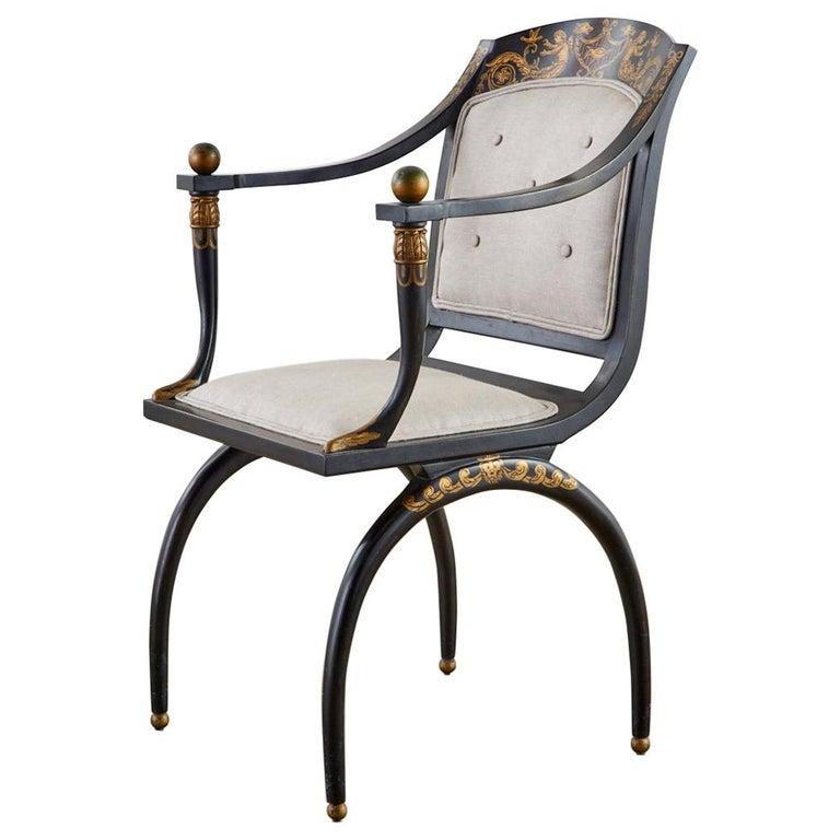 Neoclassical Empire Style Curule Leg Ebonized Armchair For Sale