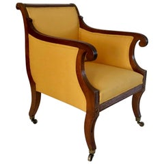 Neoclassical English Regency Upholstered Mahogany Bergère, circa 1810