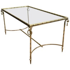Neoclassical Faux-Bamboo Brass Coffee Table Attributed to Maison Baguès