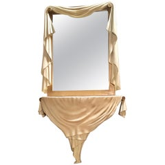 Neoclassical Faux Draped Console with Mirror