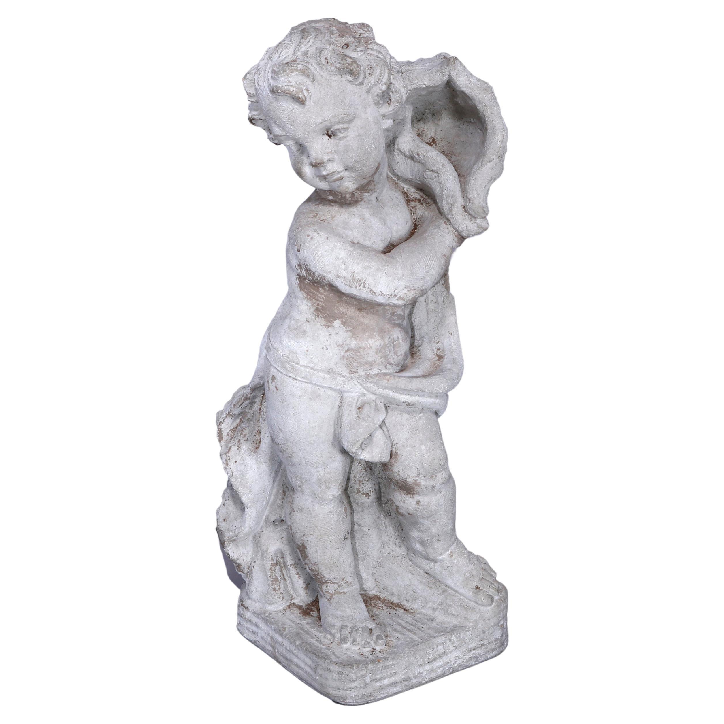 Neoclassical Figural Cast Hard Stone Garden Statue, Cherub with Shell, 20th C