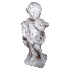 Neoclassical Figural Cast Hard Stone Garden Statue, Pensive Cherub, 20th C